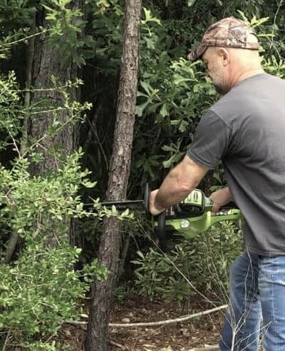 The Greenworks chainsaw is perfect for cutting small trees cut clearing low-hanging limbs.