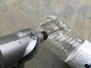 drilling holes in plastic bottles is very difficult.