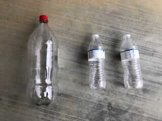 Plastic bottles used for testing drip irrigation