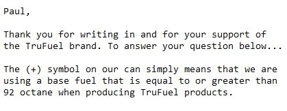 Email response from TruFuel