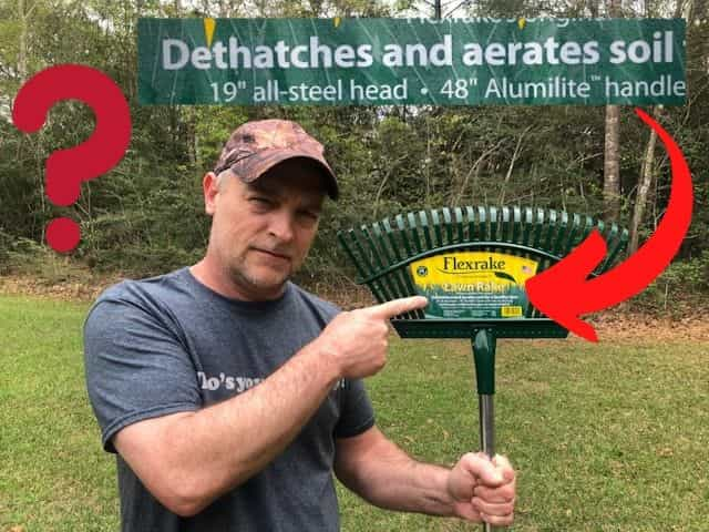 Can dethatching a lawn be performed with a simple yard rake?