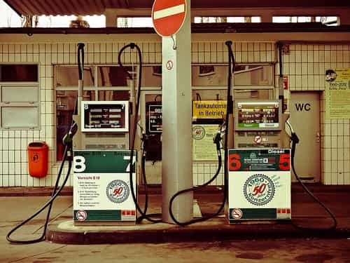 Gas from a fuel pump has already been exposed to air and is intended for immediate use, not long-term storage.