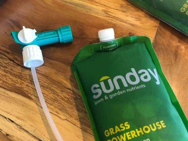 Sunday lawn fertilizer plan includes seaweed and other natural grass and soil enhancers.