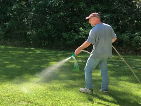 Use a natural lawn fertilizer to encourage beneficial microbial growth in the soil to prevent grass from dying.