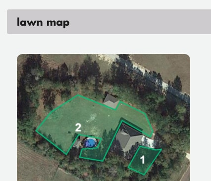 Map of lawn for application of Sunday Lawn Care.