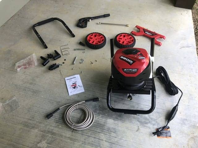 Assembling the Powerworks 2200 pressure washer requires only a phillips screwdriver and less than 20 minutes of setup time.