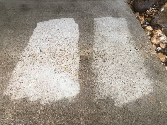 This image shows the improved cleaning of concrete using the 15 degree nozzle that is included with the Powerworks model but not the Worx pressure washer.
